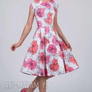 sukienki sukienka april midi rozetka, zakładki, rozkloszowana, midi, kwiaty, rękawek