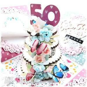 exploding box - urodzinowy (urodziny, kobieta, tort, pudełko, motyle, kwiaty)