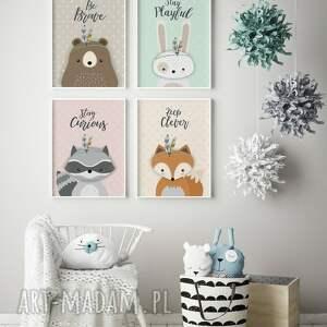 Zwierzątka leśne, zestaw A3, plakaty, dziecko, ozdoba, skandynawski, druk