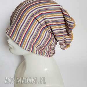 handmade czapki czapka dzianinowa pasiasta damska rozmiar uniwersalny dobra na codzienne