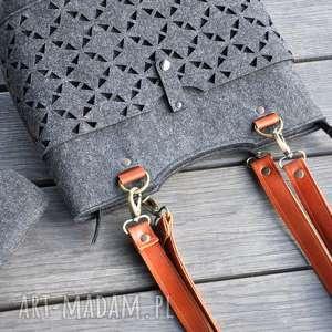 ręcznie wykonane na ramię grafitowa torebka z filcu - skórzane