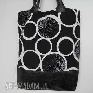 shopper bag czarne koła skóra i len, męska, torba, skóra, zakupy