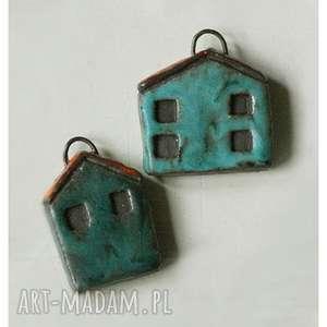 ceramika zestaw 2 domków breloczków, ceramika, domek, brelok