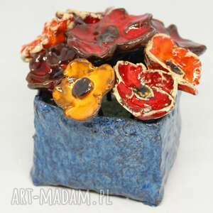 kwiaty ceramiczne piękny duży wyjątkowy komplet z boxem rozmiar m handmade