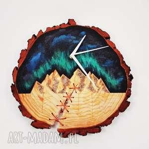 Drewniany zegar ścienny, zegar, góry, las, drewniany, leśne, kosmos