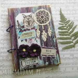 stylowy notes/pamiętnik boho - kolorowe sny, notes, boho, wilk, kwiaty, sowa