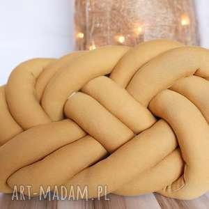 ręcznie pleciona dekoracyjna poduszka supeŁ precel knotpillow 40x30 - knotpillow