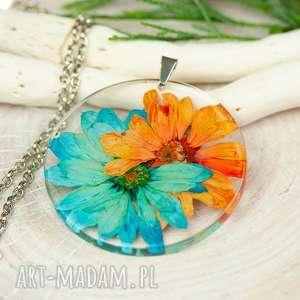 naszyjniki naszyjnik z prawdziwymi kwiatami zatopionymi w żywicy z325, biżuteria