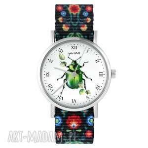 handmade zegarki zegarek - zielony żuczek folk czarny, nylonowy