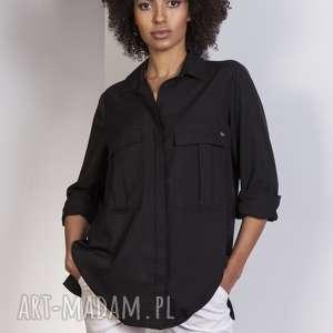 bluzki koszula oversize, k108 czarny, koszula, kieszenie, casual, luźna
