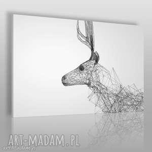 obrazy obraz na płótnie - jeleń linie 120x80 cm 55101, jeleń, linie, geometryczny