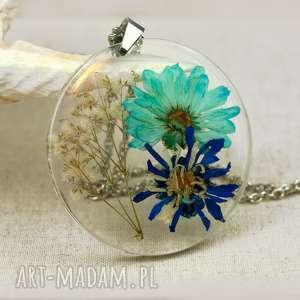 hand-made naszyjniki naszyjnik z suszonymi kwiatami, herbarium jewelry, rośliny w żywicy