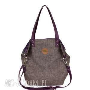 hand-made na ramię torba worek z nutką śliwki