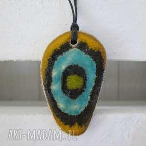 naszyjniki wisiorek sahara eye, niepowtarzalny, kolorowy, naszyjnik ceramiczny