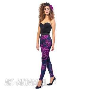 ręcznie zrobione legginsy z drukiem - magic rose