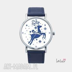 zegarek z grafiką świąteczny renifer, rudolf, zwierzę, czas, prezent, grafika, święta
