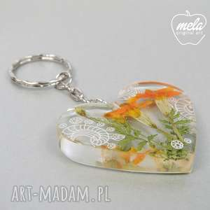 0406 mela brelok do kluczy, torebki serce kwiaty, brelok, żywica, epoksyd