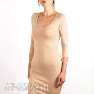 Ołówkowa sukienka - nude, beżowa, cielista, ołówkowa, sukienka, elegancka