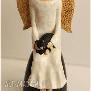 Zamówienie dla Pani Justyny, ceramika, anioł, kot