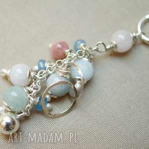 naszyjnik ze srebra i pastelowych kamieni - srebro, delikatny, kobiecy, pastelowy, lekki