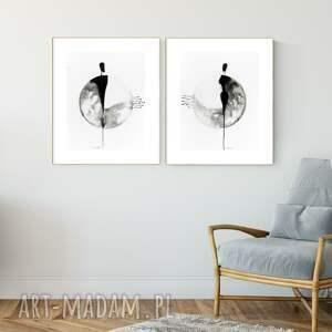 minimal art zestaw 2 obrazów 40x50 cm wykonanych ręcznie, abstrakcja, 2959936