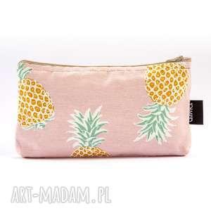ananasowa, ananas, etui, kosmetyczka, saszetka, lniana