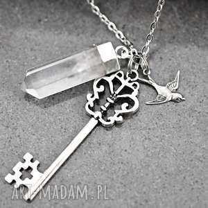 Klucz górski łki łańcuszek, klucz, kryształ, kamień, górski, jaskółka, zawieszki