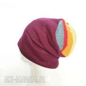 czapki czapka amarantowa na podszewce, rozmiar uniwersalny, smerfetka, polecam