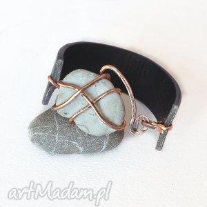 bransoletki bransoletka z miedzi, skóry i kamienia 1 , bransoletka, skóra, miedż