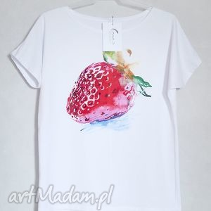 TRUSKAWKA koszulka bawełniana S/M biała, koszulka, bluzka, nadruk, truskawka, bawełna