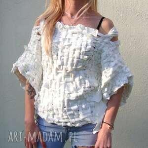 bluzki sweter biały, duży dekolt, szerokie rękawy, biały sweter, pleciona