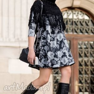 tuniki tunika angel mini dafne dekolt, sukienka, tunika, kieszenie, kwiaty, szara