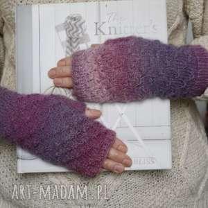 Mitenki ombre w fioletach rękawiczki jaga11 druty, ombre,