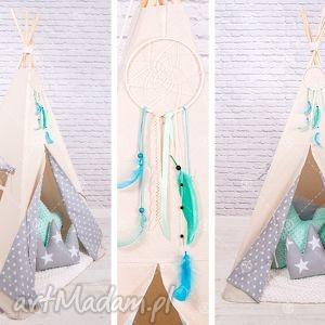 handmade pokoik dziecka tipi namiot do pokoju lub ogrodu - szare gwiazdki
