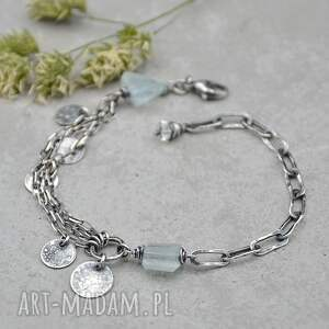 srebrna bransoletka z akwamarynem i pastylkami - 130, srebro, akwamaryn, kamień