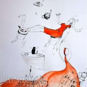 dekoracje praca akwarelą i piórkiem popołudniowe flow artystki adriany laube