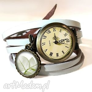 lekkość - zegarek bransoletka na skórzanym pasku, delikatny