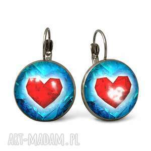 handmade kolczyki serca - duże kolczyki wiszące