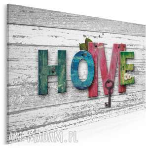 obraz na płótnie - home drewno napis 120x80 cm 76301, home, napis, klucz
