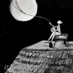 rysunek piórkiem kobieta i pełnia artystki plastyka adriany laube, kot