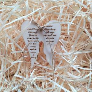 skrzydła drewniane z modlitwą, pamiątka modlitwa chrztu, świętego