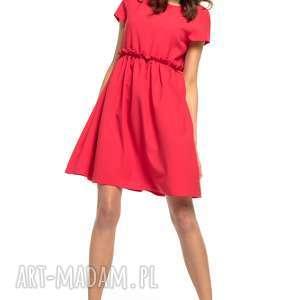 Sukienka marszczona pod biustem, T266, czerwony, urocza, sukienka, marszczona,