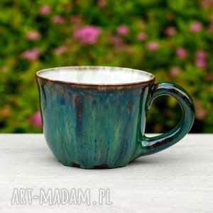 ręcznie robione ceramika niebanalny duży kubek ceramiczny szmaragdowo zielony  
