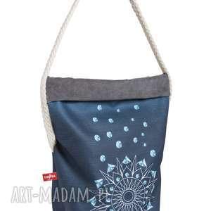 wór the pin - mandala ciemnoniebieska z bawełnianą liną, wielofunkcyjny, wygodny