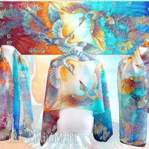szal jedwabny feniks ręcznie malowany, długi szalik yin-yang z ptakami