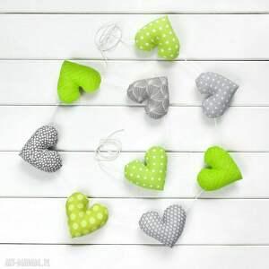 Prezent SERCOWA POZIOMA GIRLANDA, 9 serc szaro-zielonych, girlanda, serce, dekoracja
