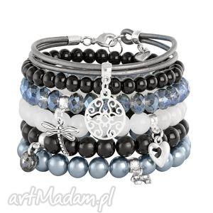 lavoga steel moon & denim - rzemień, perła, rozeta, jadeit