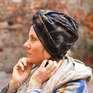 hand-made czapki turban uniwersalny w odcieniach brązu, polecam box