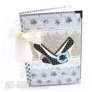 notes szpilki - niebieski, notes, pamiętnik, kratka, szpilki, buty, szydełko