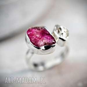 Prezent 925 Pierścionek z diamentem Herkimer , rubin, diament, srebro,